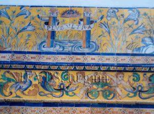 Detalles de la cerámica de azulejos del Alcázar de Sevilla