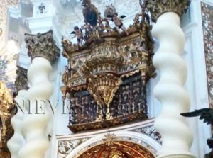 Turned columns with golden capital in the Church of San Luis de los French in Seville