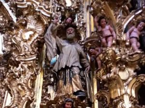 Details of the altarpieces inside the Church of El Salvador in Seville