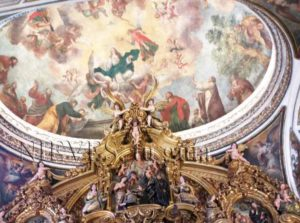 Dome decorated with fresco paintings in the Church of San Luis de los Francesa in Seville
