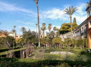 General view of the gardens of the Alcazar of Seville