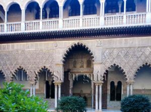 Side view of the courtyard of the Alcazar of Seville