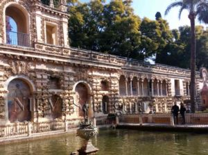 Fountain in the gardens of the Alcazar of Seville. Garden of the Pond of Mercury