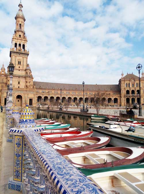 The boats of the Plaza de España in Seville