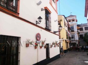 Typical street of Barrio de Santa Cruz